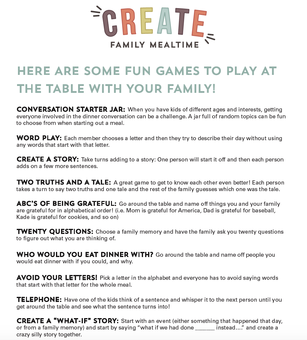 Mealtime= Funtime! – Kids Create